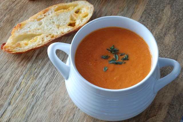 Creamy Tomato Thyme Soup & Cheddar Cheese Toast