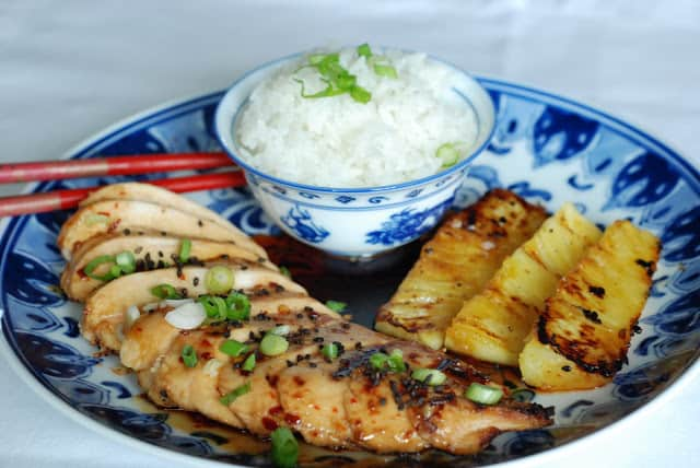 Sticky Coconut Chicken with Grilled Pineapple