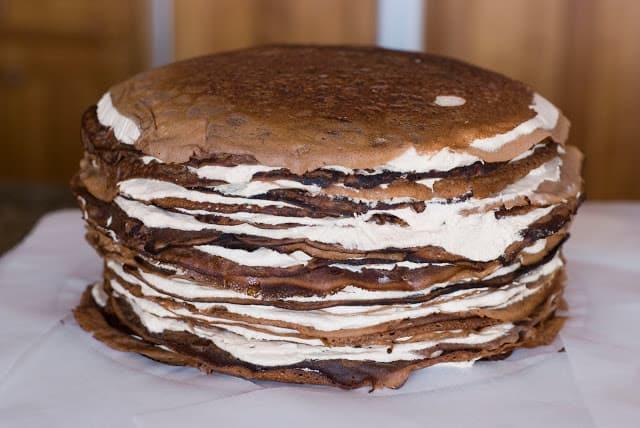 31 1 - Dark Chocolate Crepe Cake Step # 3 Chocolate Ganache