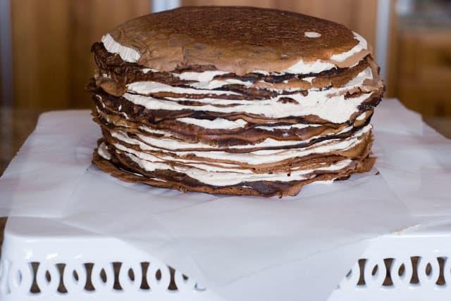 32 1 - Dark Chocolate Crepe Cake Step # 3 Chocolate Ganache