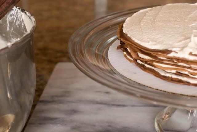 36 1 - Dark Chocolate Crepe Cake Step # 2 Hazelnut Filling