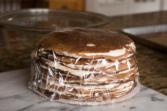 38 1 - Dark Chocolate Crepe Cake Step # 2 Hazelnut Filling