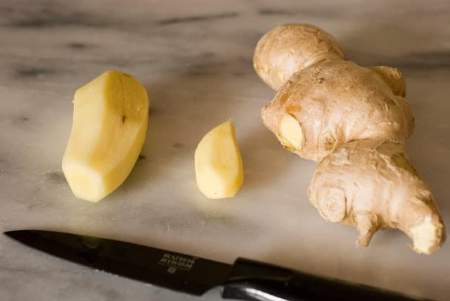 Fresh ginger partially peeled