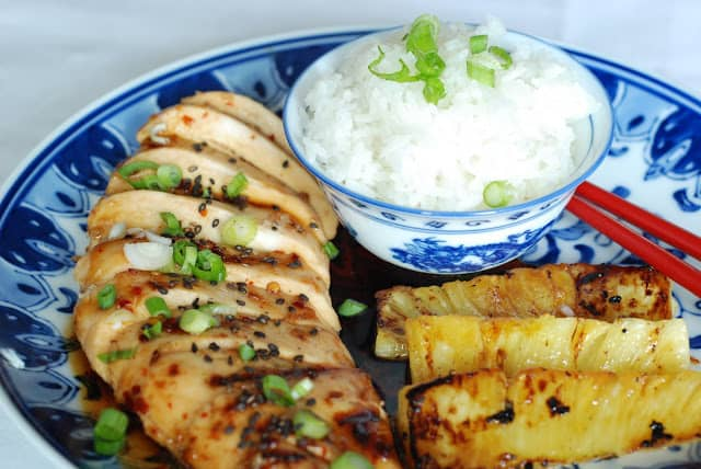 51 - Sticky Coconut Chicken with Grilled Pineapple
