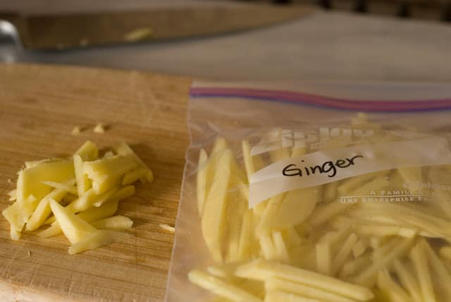 Julienned strips of fresh ginger in resealable bag