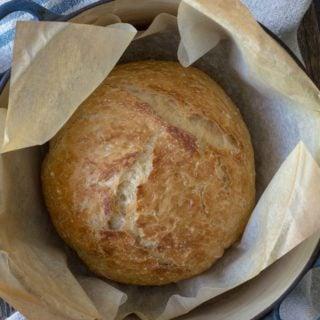 No-knead Crusty Bread in a Dutch oven