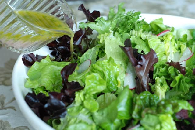 29 4 - Spring Salad with French Vinaigrette and Lemon Garlic Dressings
