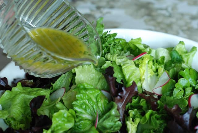 Spring Salad with French Vinaigrette and Lemon Garlic Dressings