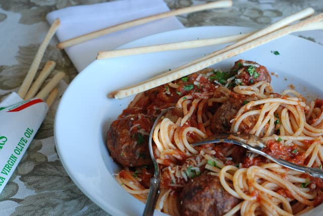 Stuffed Meatballs and Spaghetti