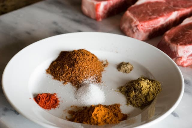 1 2 - Ancho Chile Rubbed Steaks with Cuban Sauce