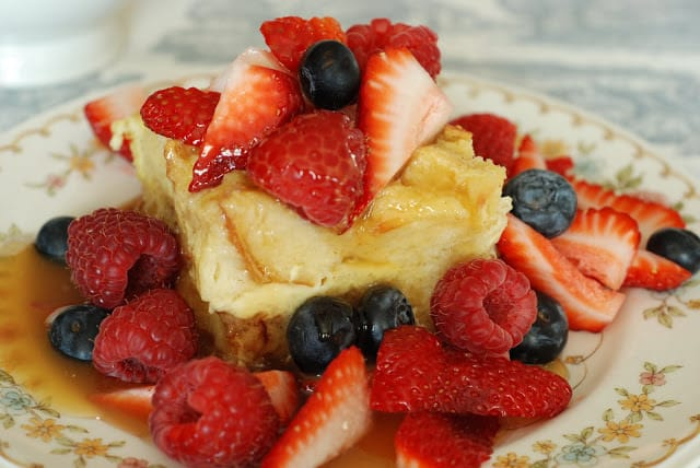 French Toast Bread Pudding with Mixed Berries and Fat Sauce