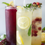 Lemonade and raspberry lemonade in tall glasses