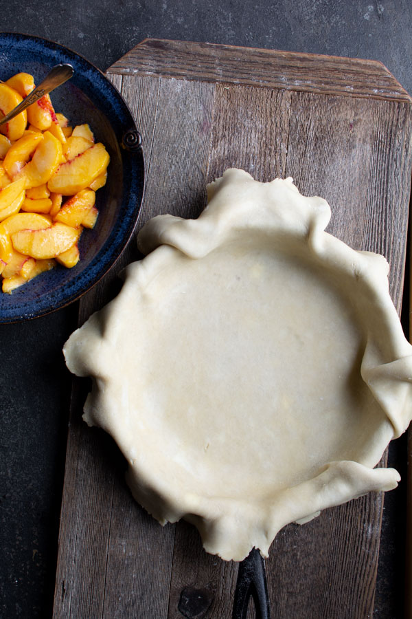 PIe crust lined cast iron skillet