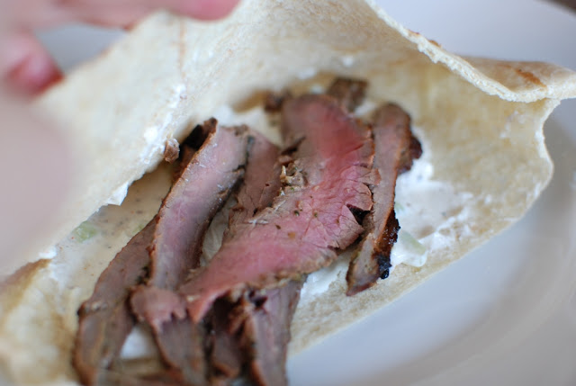 61 - Grilled Flank Steak Pita's with Cucumber-Yogurt Sauce
