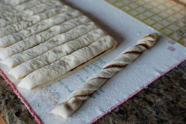Strip of dough twisted