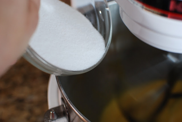 sugar added to mixing bowl with eggs