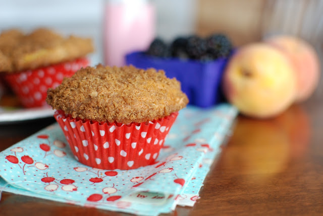 Blackberry Peach Lavender Muffins