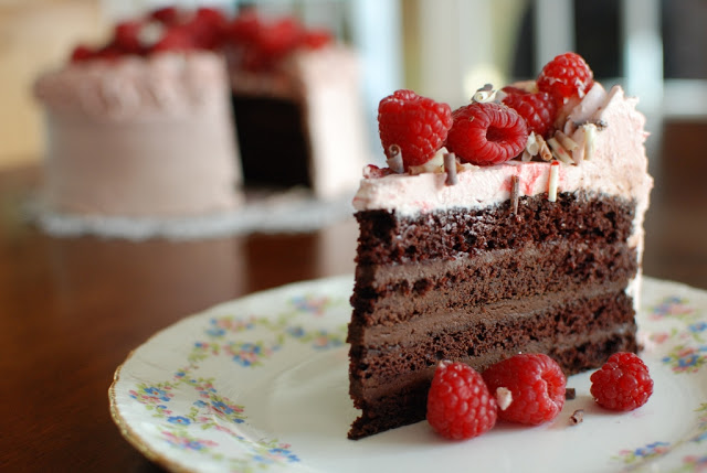 Chocolate Layer Cake with Raspberry Buttercream