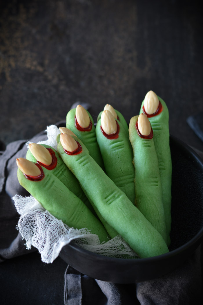 Creepy Witch Finger Cookies in a bowl