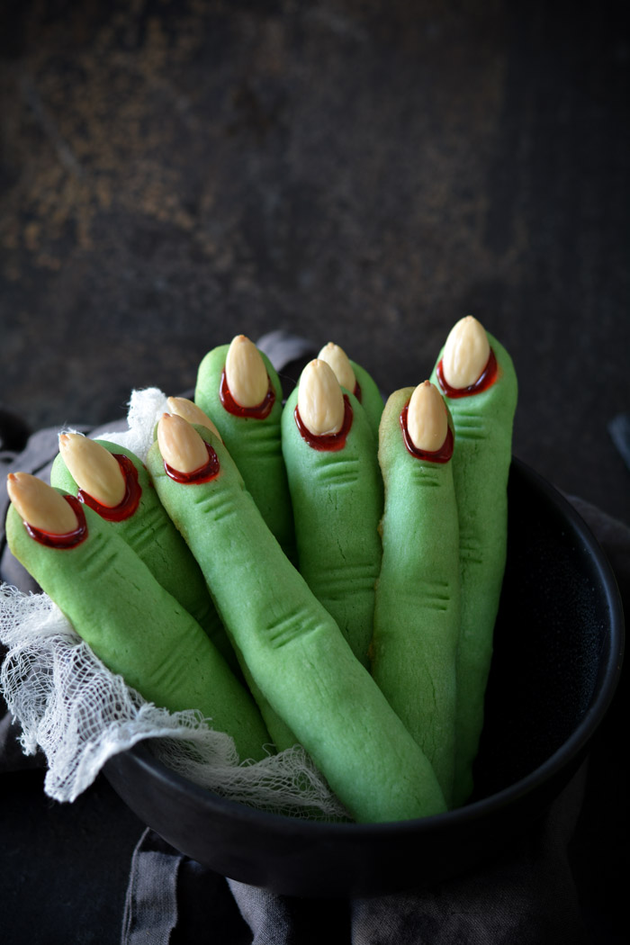 Creepy Witch Finger Cookies standing in bowl