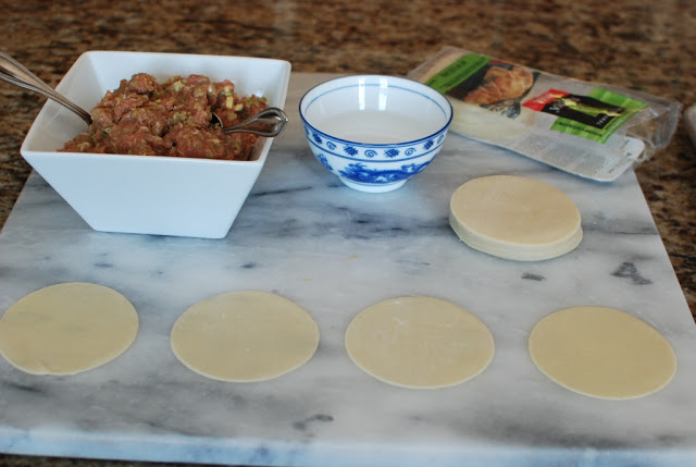 gyoza wraps on marble board