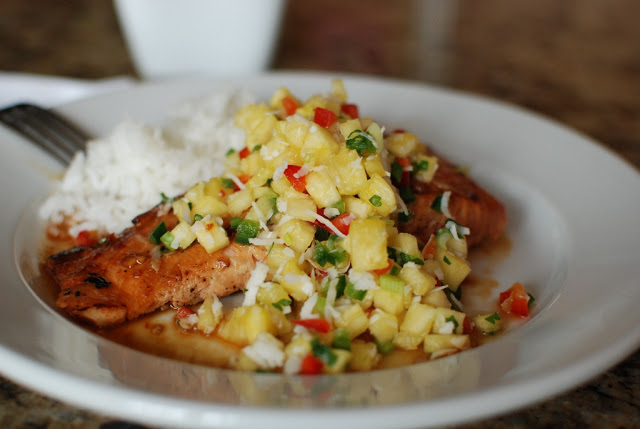 Soy Orange Glazed Grilled Salmon with Fresh Pineapple Salsa