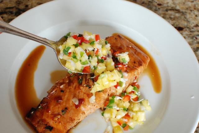 42 - Soy Orange Glazed Grilled Salmon with Fresh Pineapple Salsa