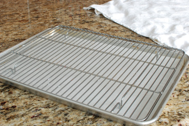 Baking sheet topped with a cooling rack