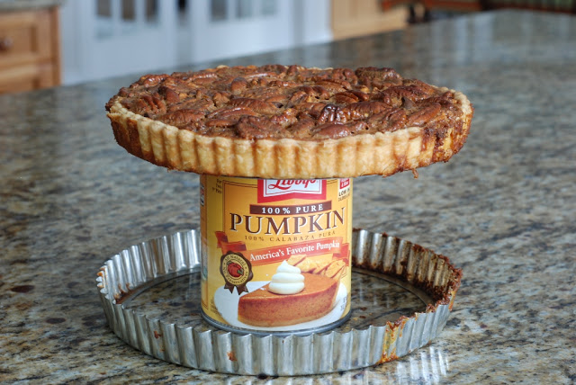 pecan tart on top of can to remove rim
