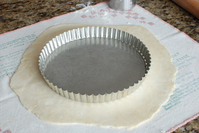 rolled out pie dough with tart tin