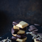 stacked chocolate dipped shortbread cookies