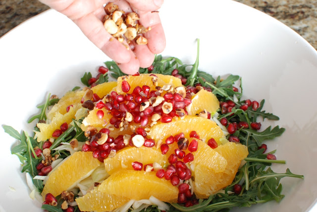 38 1 - Orange Fennel Arugula Salad with Pomegranates and candied Hazelnuts
