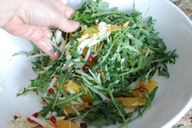 40 - Orange Fennel Arugula Salad with Pomegranates and candied Hazelnuts