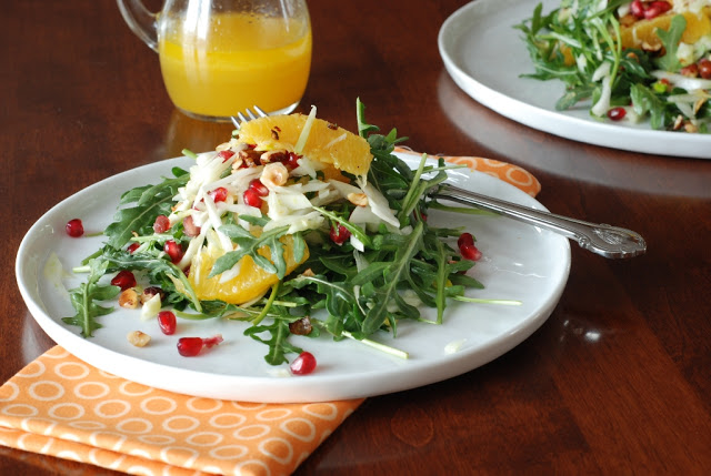 41 - Orange Fennel Arugula Salad with Pomegranates and candied Hazelnuts