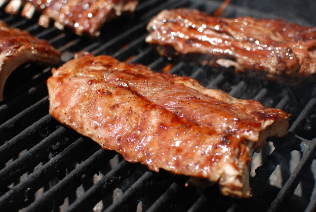 Glazed ribs on grill