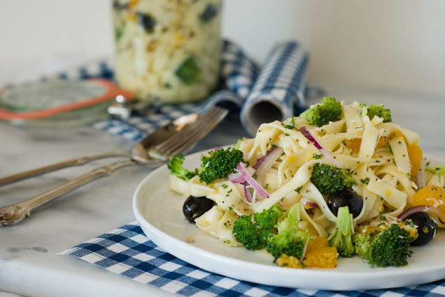 35 - Orange Broccoli Fettuccine Salad with Lemon Poppy Seed Dressing