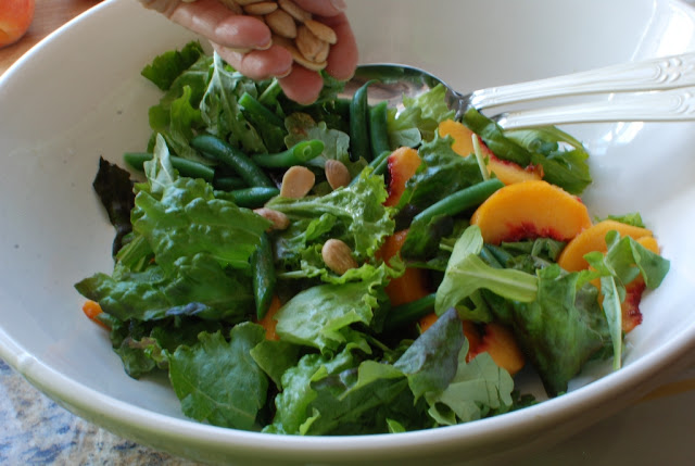 13 3 - A Farmers Market Salad with Peaches, Green Beans, with Orange Ricotta