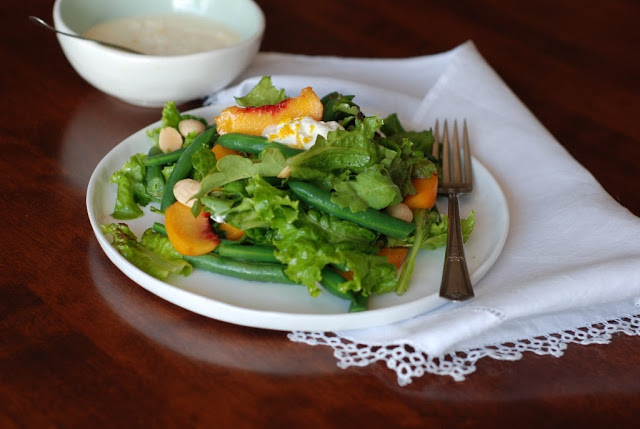 16 3 - A Farmers Market Salad with Peaches, Green Beans, with Orange Ricotta
