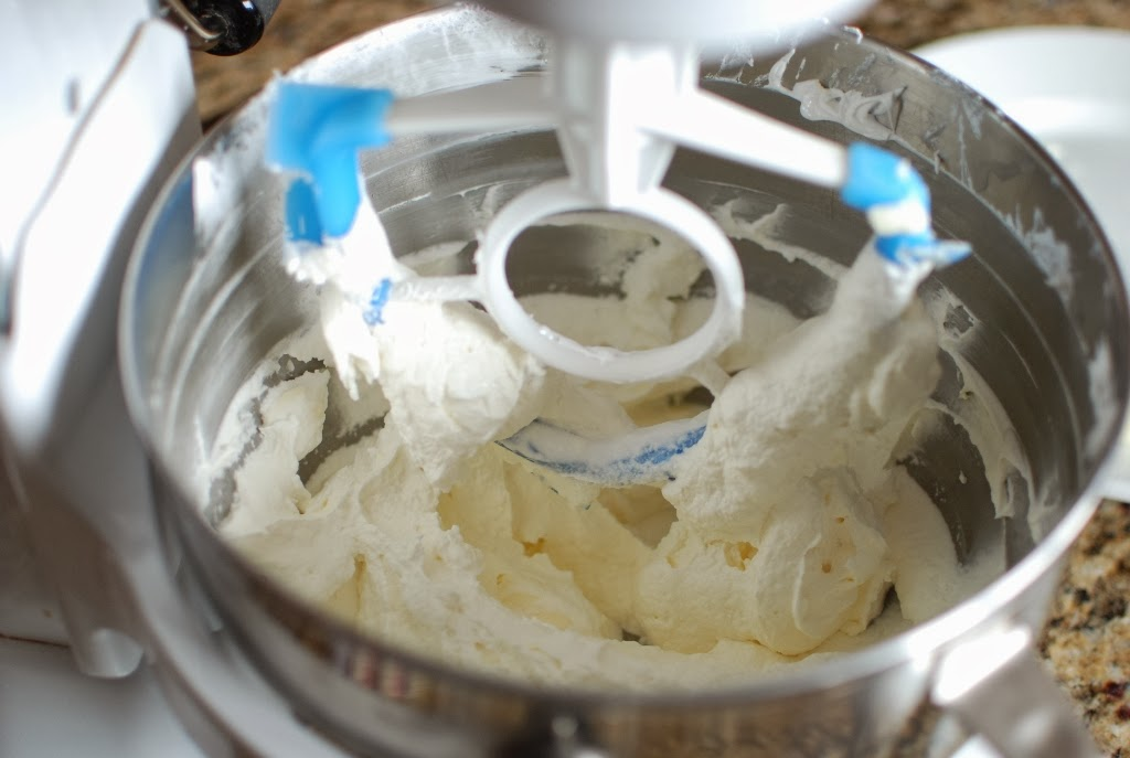 Smooth swiss meringue butter cream in a mixing bowl