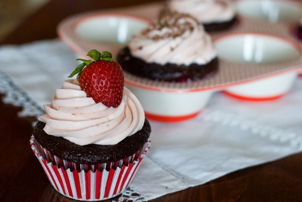 43 1 1024x685 - Chocolate Cupcakes with Strawberry Swiss Buttercream
