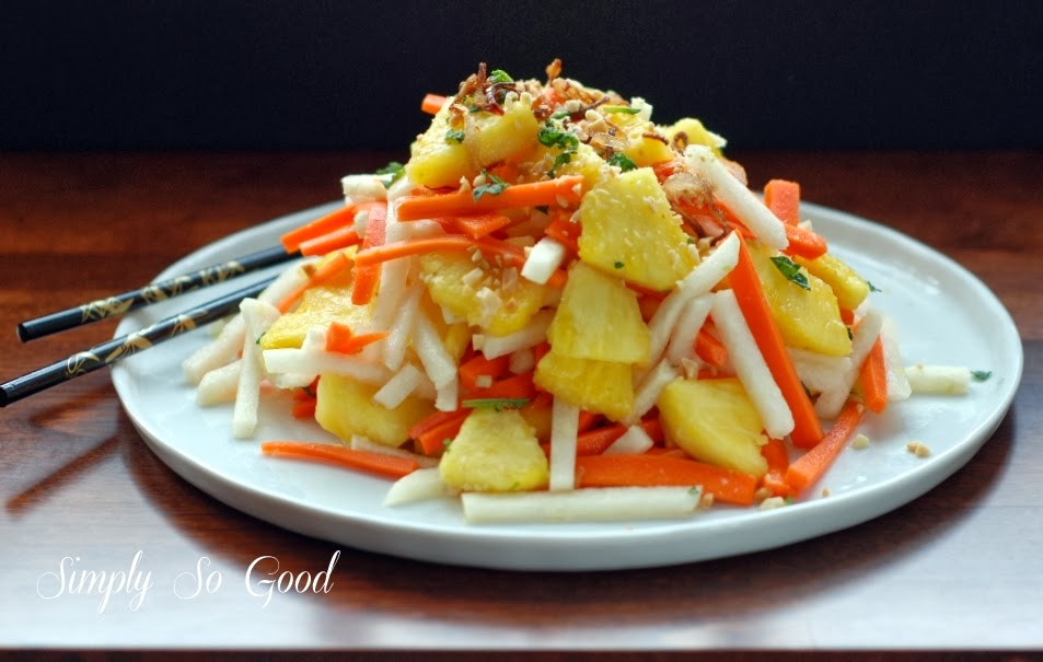 Fresh Pineapple Salad with pickled Jicama and Carrots