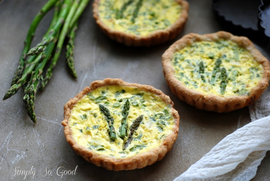 baked asparagus quiche tarts