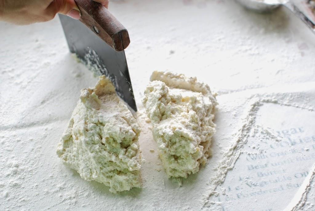 ricotta gnocchi dough cut in half