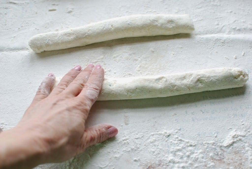 long rolls of ricotta gnocchi