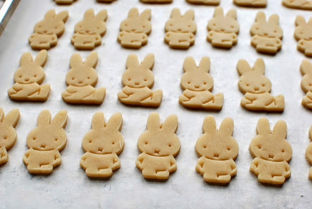 Miffy bunny cookies on baking sheet