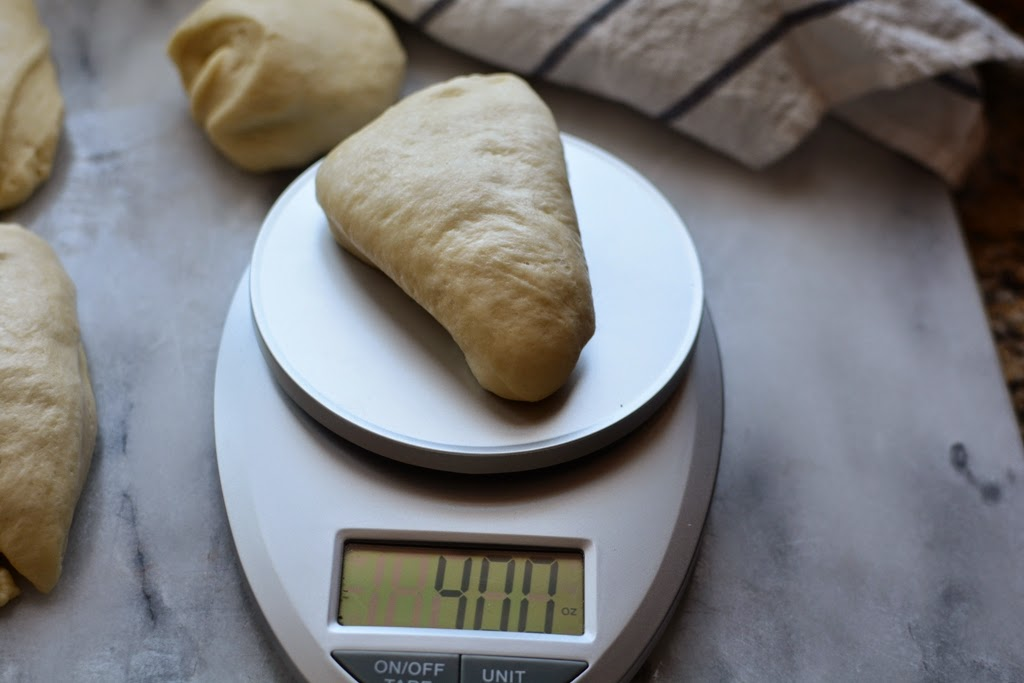 dough portion on scale