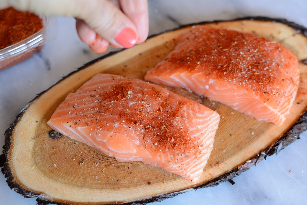 season salmon on cedar planks