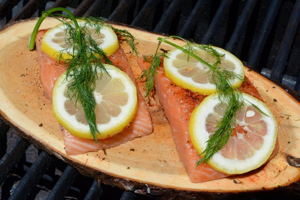 cedar plank with salmon on grill