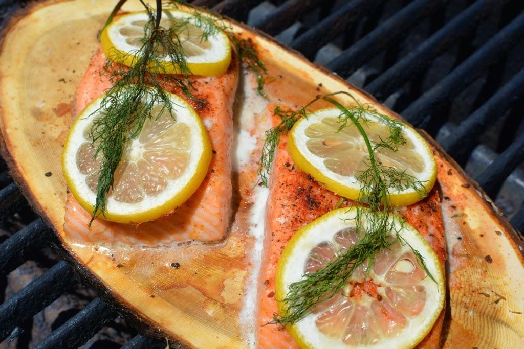 Salmon on cedar plank on grill