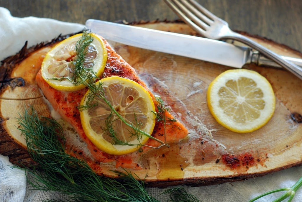 salmon on a cedar plank with lemon